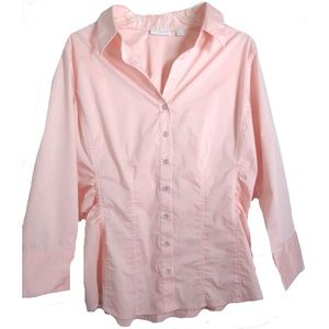New York & Company Top L Pink-Salmon Ruched Sides